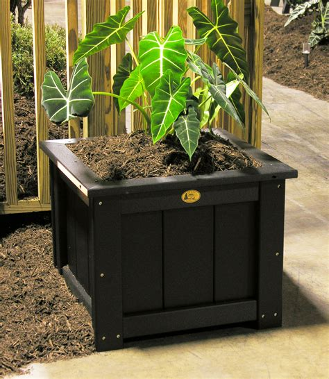 Black Outdoor Planters Poly 24 Inch Square Planter Black 2 Tri State Outdoor