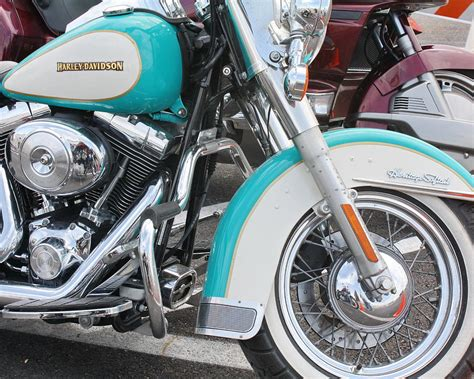 turquoise teal harley davidson motorcycle closeup photograph by terry fleckney
