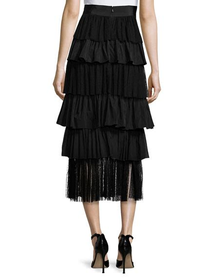 Tiered Midi Skirt miriella tiered midi skirt black