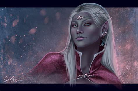 female elf white hair cosplay drow portrait by carriebest on deviantart