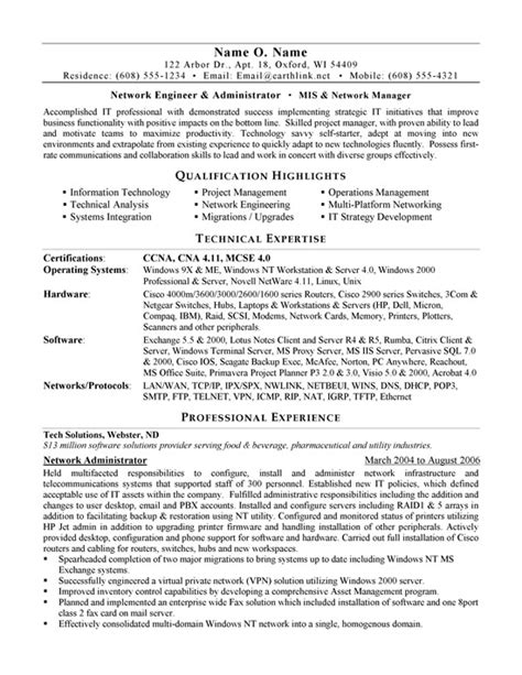 system administrator resume sample resume samples