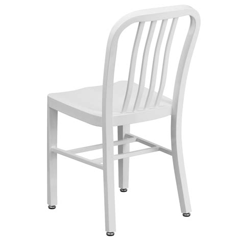 Galvanized Bistro Chair Kali Industrial White Galvanized Side Chair Metalrestaurantchairs
