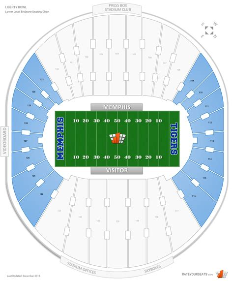 bowl seating chart with rows endzone liberty bowl football seating rateyourseats