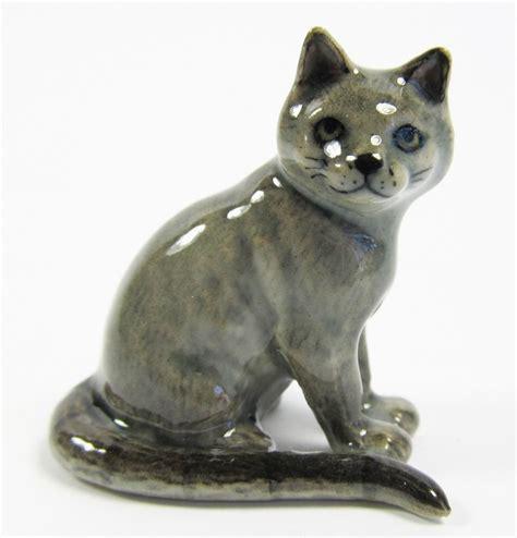 Cat Figurine miniature porcelain painted russian blue cat figurine