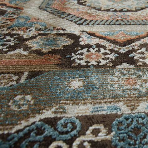 teppich blau braun teppich orientalisch hochwertiger flachflor antik optik in