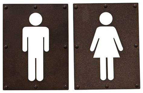 bathroom signages man and woman metal bathroom signs set of 2 industrial