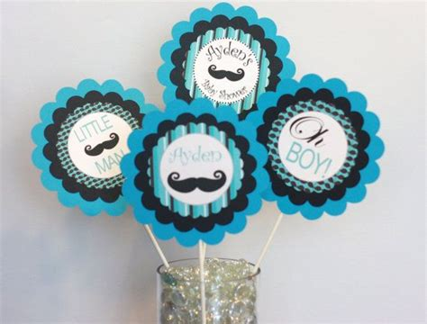3 centerpieces or cake toppers mustache bash little man