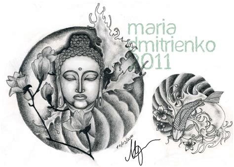 buddha waves and koi fish tattoo design tattooshunt com