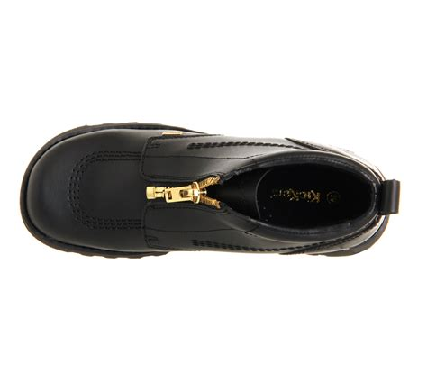 Kickers Zipper Original kickers kick hi zip black leather gold zip flats