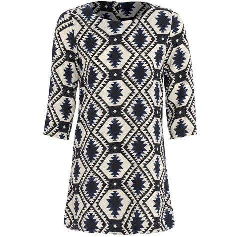 aztec pattern clothes womens aztec pattern print 3 4 sleeve neon scoop neck
