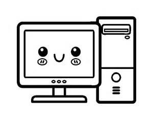 disegno di computer desktop da colorare acolore