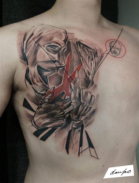 unique chest tattoos unique abstract on right chest