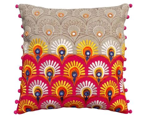 Buy Folk Kutch Embroidery Cushion Cover  Vliving