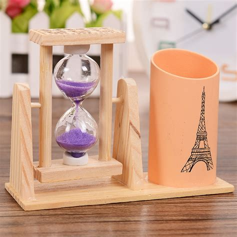 new arrival creative household items cartoon hourglass creative gifts wooden hourglass pen container timer school