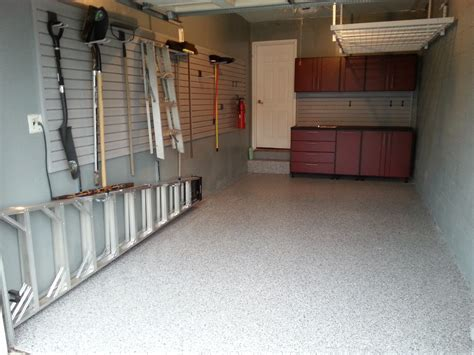 small and narrow garage remodel design with concrete