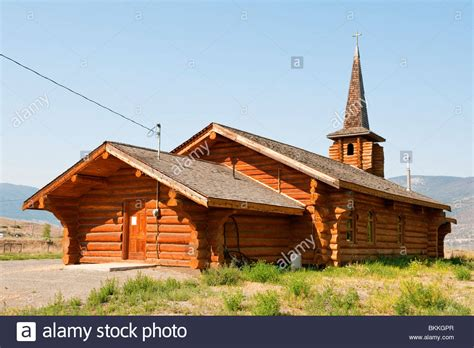 unusual log cabin style  lady  lourdes roman catholic church stock photo royalty