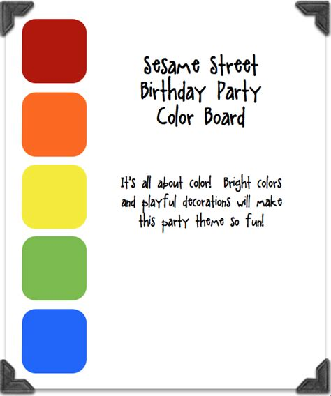 sesame primary colors sesame themed birthday
