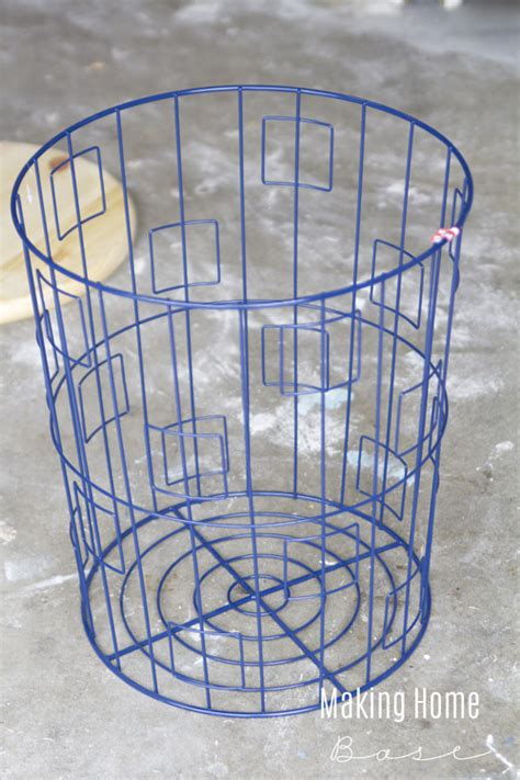 wire acity table diy accent table from a wire laundry basket