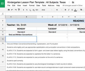 Teks Lesson Plan Template Lesson Plan Template Kindergarten All Subjects W All Texas Teks Standards