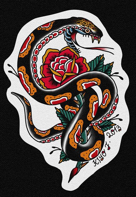 tattoo old school japanese snake tradicional tattoo traditional ol school