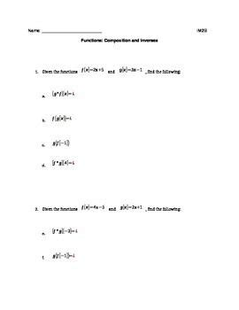 Composite Functions Worksheet With Answers by Worksheets Composite Function Worksheet Opossumsoft