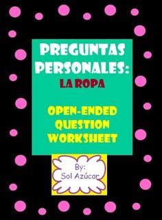 spanish preguntas personales in spanish vocabulary and presentation on pinterest