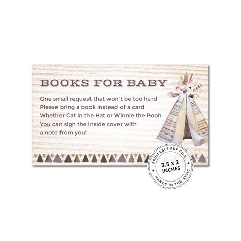 boho baby shower book request card printable stationery