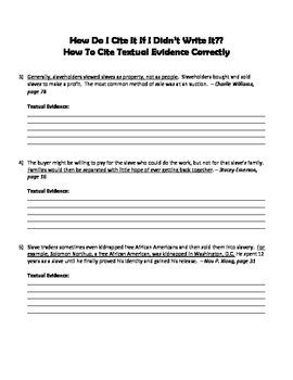 Citing Textual Evidence Practice Worksheet by Book Baby | TpT