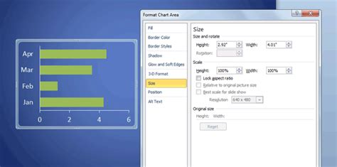 how to change powerpoint chart size position