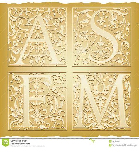 lettere alfabeto antiche lettere antiche ornamentali illustrazione vettoriale
