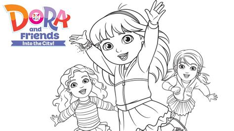 coloring pages dora and friends into the city dora and friends colour in 2 milkshake