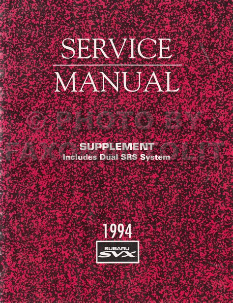1994 subaru legacy repair shop manual supplement original 1994 subaru svx airbag srs system repair shop manual supplement original