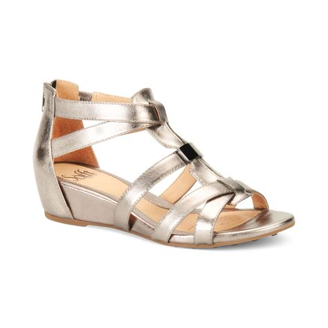 s 246 fft womens bernia wedge sandals in silver anthracite