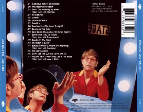 Elton Discos Noticias Biografa Fotos Canciones Car 225 Tula Trasera De Elton One Only Portada