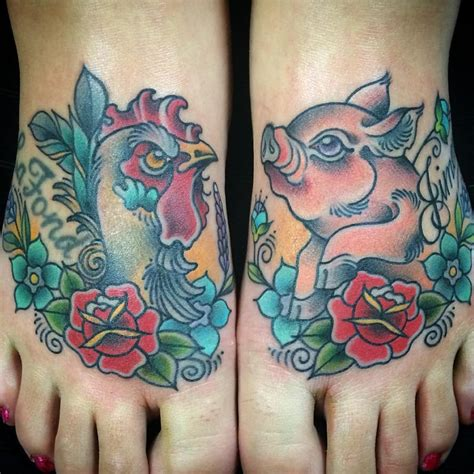 pig and rooster tattoo keep your afloat with traditional pig and rooster