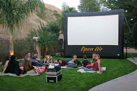 backyard movie projector rental silver screen outdoor events affordable inflatable movie