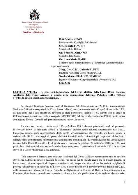 convocazione consiglio dei ministri lettera aperta inviata al presidente consiglio e ai