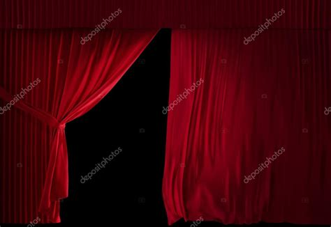 reveal curtain theater velvet red courtain half opened stock photo