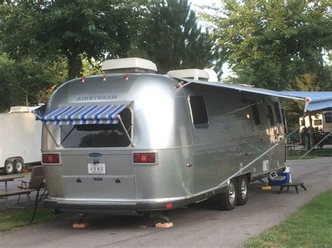 awnings salt lake city airstream quot classic quot with blue striped awnings at the salt