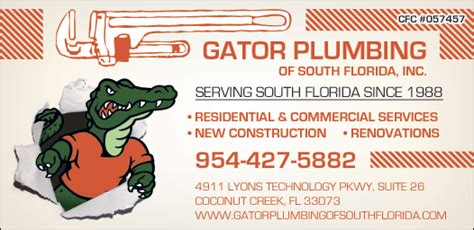 Plumbing Schools In Florida by Christians In Business Gator Plumbing South Florida