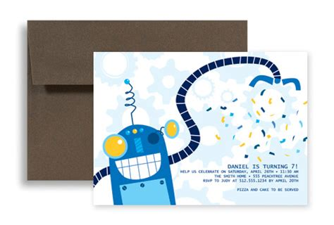 Boys Candy Robot Birthday Invitation Design 7x5 In Horizontal Kid 1128 Designbetty Birthday Card Template Boy