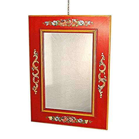 floral pattern wall mirror traditional trentino style wooden wall mirror with floral