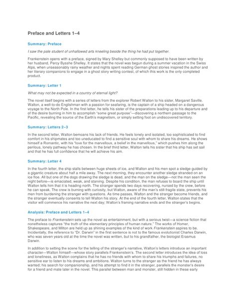 analysis of frankenstein narrative sparknotes for frankenstein