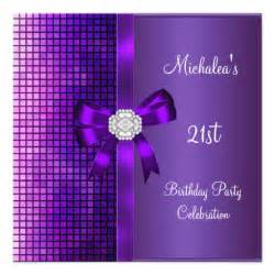 21st birthday sequins purple bow personalized invitations