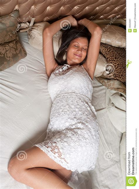 lie in bed young girl lie in bed stock image image 35552061