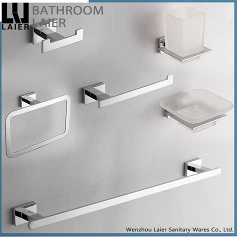 Square Chrome Bathroom Accessories New Simple Square Design Zinc Alloy Chrome Bathroom Set