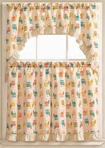 Owl Kitchen Curtains Lorry Baby Owls Embroidered 3 Kitchen Curtain Swag