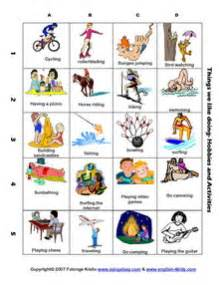 esl english vocabulary hobbies and fun holiday activities