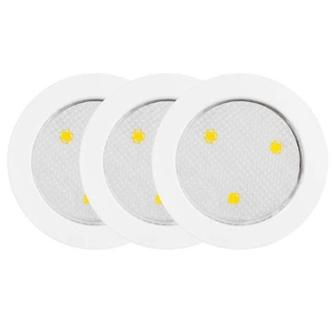 white led puck lights led cabinet puck lights white 3 pack 25787 in