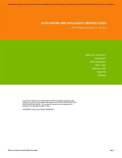 Acer Aod270 Acer Aspire One D270 Service Guide Pdf